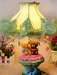 Valentine'S Day Couples Bear Children Cloth Art Of Carve Patterns Or Designs On Woodwork Rose Desk Lamp Led Light