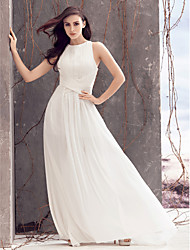 Lanting Bride A-line Wedding Dress-Sweep/Brush Train Jewel Chiffon