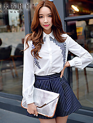 Women's White Shirt , Shirt Collar Long Sleeve