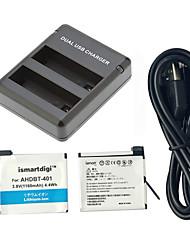 ismartdigi GoPro held 401 batterij 2 stuks 3.8V 1160mah + oplader kit 2 accu usb-oplader voor GoPro 4