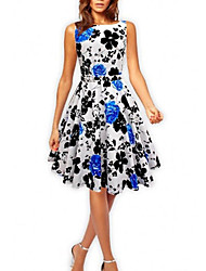 Women's Vintage / Casual Print A Line / Ball Gown Dress , Strap Above Knee Cotton