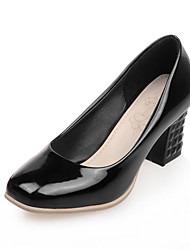 Women's Shoes Chunky Heel Square Toe / Closed Toe Heels Office & Career / Dress Black / Red / Silver