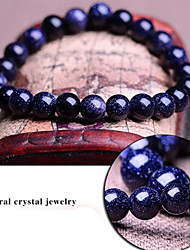 Blue Starry Sky Natural Genuine Crystal Gemstones Tibetan Beaded Strand Bracelet,Unisex Jewelry