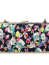 Women's Floral Fancy Clutch Bag Party Evening Bag with Chain