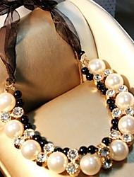 Feminino Colares Declaração Colar com Pérolas Pérola imitação de diamante Liga Jóias de Luxo Branco Jóias Para Festa
