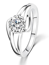 White Gold Plated Flower Wedding Rings AAA Zircon Vintage Engagement Rings For Women CZ Diamond Jewelry Bague Gifts