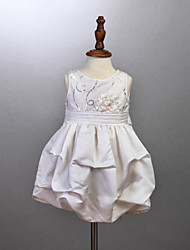 Girl's White Dress,Solid Cotton All Seasons