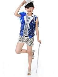 Jazz Outfits Children's Performance Sequined Sequins 3 Pieces Blue / Red Jazz Sleeveless Top / Vest / Shorts