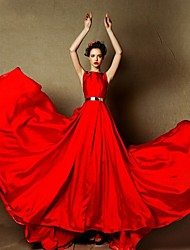 Formal Evening Dress - Ruby A-line Bateau Sweep/Brush Train Satin