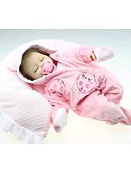 NPKDOLL Reborn Baby Doll Soft Silicone 18inch 45cm Magnetic Lovely Lifelike Cute Boy Girl Toy Pink Dress Eyes Close