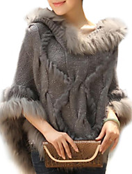 Women's Trendy Real Genuine Raccoon Fur Cape