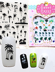 Coconut trees island style 3D Nail Stickers Water Transfer Nail Art Decals Decorations Design Tricolor