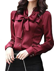 Women's Long Sleeve Bowknot Vintage Shirts