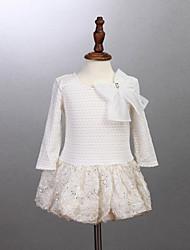 Girl's White Dress,Jacquard Cotton Summer / Winter