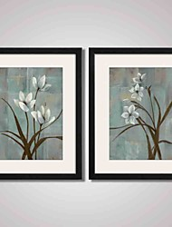 Framed  Flowers Canvas Print Art for Office and Home Decoration Set of 2 Ready To Hang