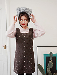 Korean Style Women's Work / Casual / Day Polka Dot Loose Dress , Strap Above Knee Wool / Polyester