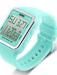 SKMEI Mulheres Relógio Esportivo Relogio digital LCD Calendário Cronógrafo Impermeável alarme Digital Borracha Banda DocePreta Azul Verde
