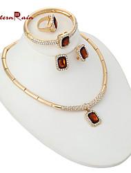 WesternRain Women's Crystal Jewelry Set 18K Gold Plated Party Synthetic Gemstone jewelry Sets Fashion Rhinestone Jewelry
