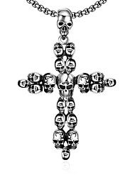 Maya Fashion Unique Multiple Skull Man Stainless Steel Pendant Necklace(Gray)(1Pcs)