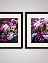 Framed  Abstract Purple Flowers Canvas Print Art for  Home Decoration 40x50cmx2pcs Ready To Hang