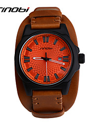 SINOBI Men's Sport Watch Wrist watch Calendar Water Resistant / Water Proof Sport Watch Quartz Leather Band Brown