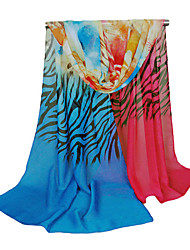 Women Chiffon Scarf Contrast Color Zebra Flower Print Colorful Long Shawl Pashmina