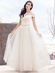 A-line Wedding Dress - Ivory Floor-length Scoop Lace