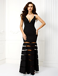 TS Couture® Formal Evening / Black Tie Gala Dress Plus Size / Petite Sheath / Column V-neck Ankle-length Satin with Beading