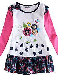 Girl's Long Sleeves Floral Drtess Clothing Kids Dresses(Random Printed)