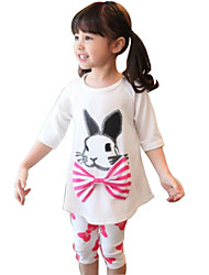 Girl's Red / White Clothing Set,Bow / Cartoon Cotton Summer