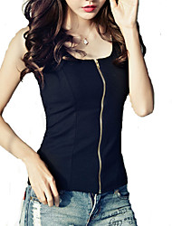 Women's Solid Black Long Zipper Vest Sleeveless Cardigans, U Neck Sleeveless Tank Top