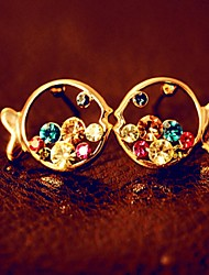 Stud Earrings Drop Earrings Cubic Zirconia Platinum Plated Alloy Fashion Gold Jewelry 1set