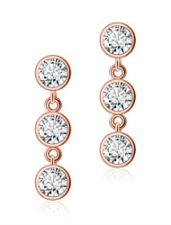 925 Sterling Silver Women Jewelry Fashion High Quality Gold Plated Drop Earrings with Cubic Zirconia