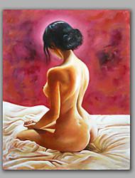 Обнаженная девушка присела на кровати хороший современный стены искусства обрамленная