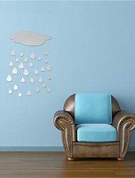 Beautiful Design DIY 3D Cloud Rain Drop Acrylic Mirror Stickers Wall Decor Home Decals Art Durable