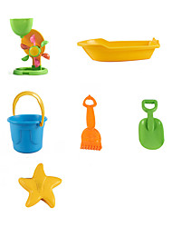 6-Pieces Beach Sand Toys Set with Boat, Bucket, Sand Shovel, Sand Rake, Waterwheel and one Model