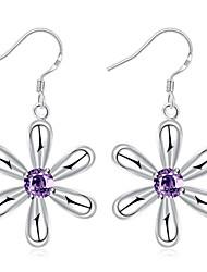 Purple Crystal Flower Dangle Earrings Ladies Silver Plated Drop Earring(Color:Silver)