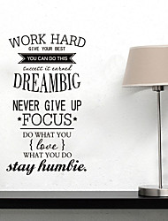 Wall Stickers Wall Decals Style Work Hard Dream BIg English Words & Quotes PVC Wall Stickers