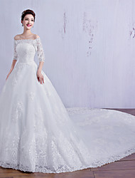 Ball Gown Wedding Dress Floral Lace Chapel Train Off-the-shoulder Tulle with Crystal Lace