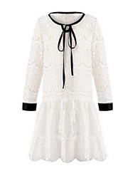 Girl's White / Gray Dress,Lace Cotton Spring