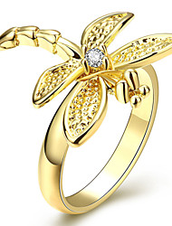 Creative Korean-style Women's Dragonfly Ring Jewelry 18K Gold Plated Fine Crystal Ring(Size:6-8US,Color:Gold)
