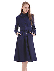 Women's Casual/Daily Simple Sheath Dress,Solid Shirt Collar Midi Long Sleeve Blue Polyester All Seasons