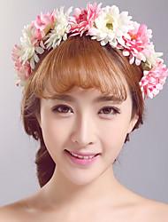 Pink Wedding / Fabric Headpiece - Outdoor Flowers / Garland