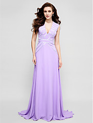 TS Couture Prom Formal Evening Dress - Elegant A-line V-neck Sweep / Brush Train Chiffon with Sash / Ribbon Pleats