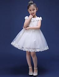 A-line Short/Mini Flower Girl Dress - Tulle Short Sleeve