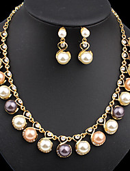 MISSING U Women Cute / Party Rose Gold Plated / Alloy / Rhinestone / Imitation Pearl Necklace / Earrings Jewelry Sets