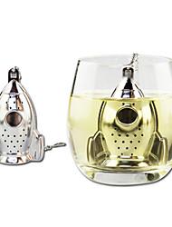 Cartoon Rocket Shape Tea Strainer Tea Infuser with Mini Plate Stainless Steel