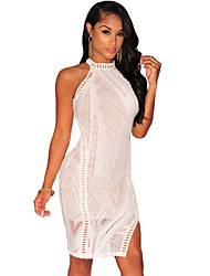 Women's  Lace Nude Illusion Key-Hole Back Dress