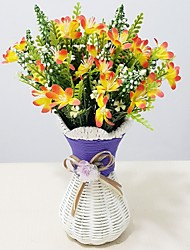 Plastic Orchids Artificial Flowers with Vase
