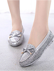 Women's Shoes Leatherette Flat Heel Comfort Flats Outdoor / Casual Black / Silver